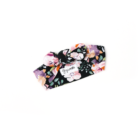 Willow Charcoal Floral Topknot Headband - Gigi and Max