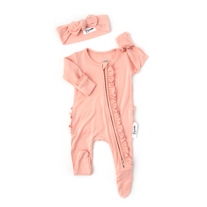 Olivia Light Pink Ruffle Newborn ZIP - Gigi and Max