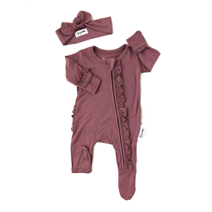 Kate Mauve Newborn Ruffle ZIP - Gigi and Max