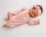 Olivia Light Pink Newborn Footed Ruffle Zip - Gigi and Max
