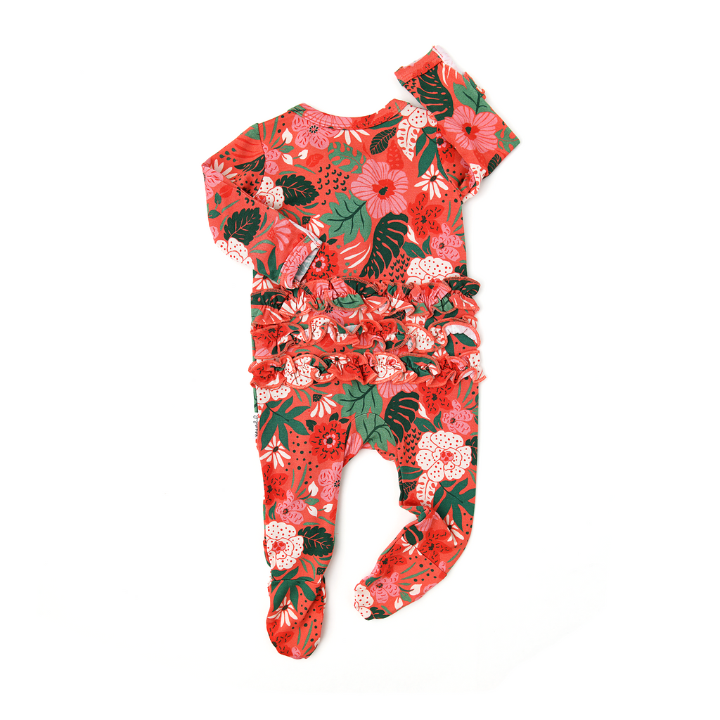 Leilani Floral Ruffle Newborn ZIP - Gigi and Max