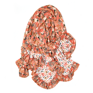 Ava Floral Double Layer Ruffle Blanket