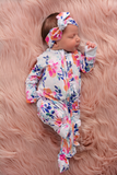 Bella Floral Newborn Footed Ruffle Zip - Gigi and Max