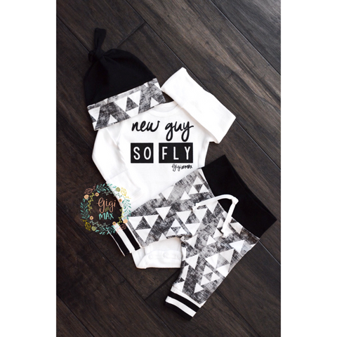 New Guy So Fly Organic Black and Gray Triangle Theme Newborn Outfit