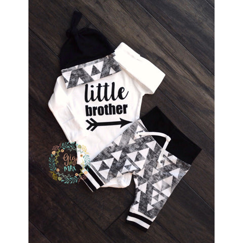 Little Brother triangles newborn outfit
