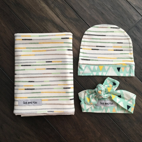 "Stripe Swaddle - 34""x34"" Gender Neutral"