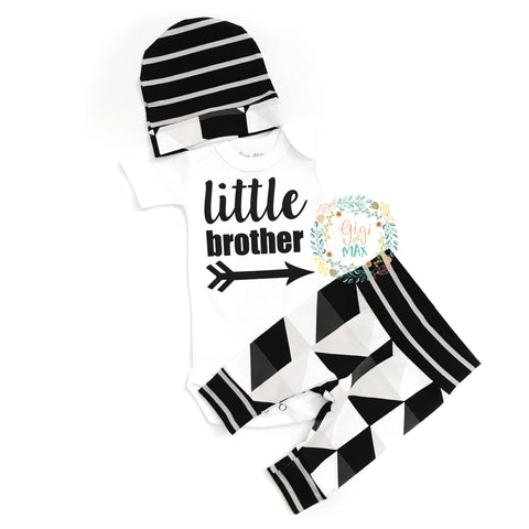 Little Brother black and gray triangles newborn outfit