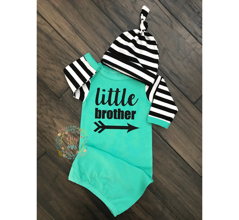 Little brother Handmade Teal and Stripe gown - Gigi and Max
