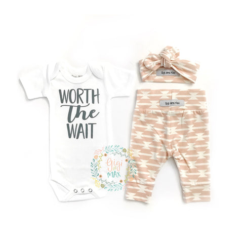 Worth the Wait Pink geo Newborn Outfit