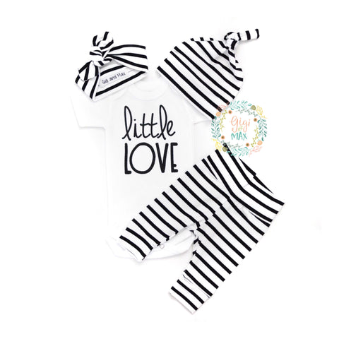 Gender Neutral Little Love set thin stripe
