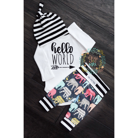 Organic Elephant hello world Theme Newborn Set