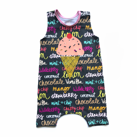 Ice Cream Flavor Tank Top and Shorts Romper