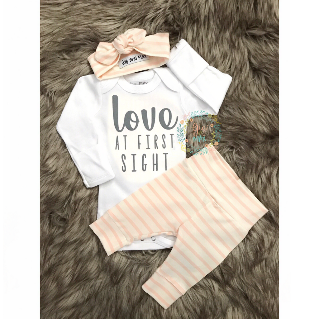 Love at First Sight Coral Stripe Newborn Outfit - Gigi and Max