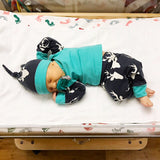 Deer Newborn Outfit Navy and Teal - Gigi and Max