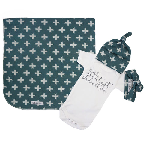 "Slate Blue Cross Swaddle - 34""x34"" Gender Neutral"
