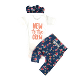 New to the Crew Navy Floral Newborn Outfit