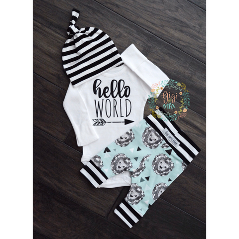 Organic Lion hello world Theme Newborn Set