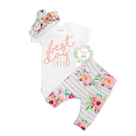 Watercolor Floral BEST DAY Ever Coral Writing Newborn Outfit
