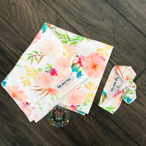 "Swaddle Peach Floral -  34"" X 34"""