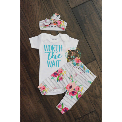 Watercolor Floral Worth the Wait Newborn Outfit