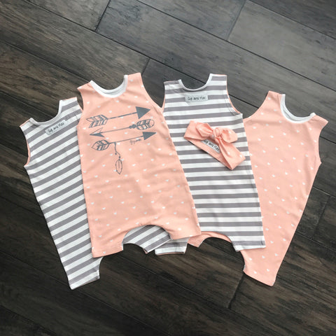 Hearts and Stripes - Tank Top and Shorts Romper