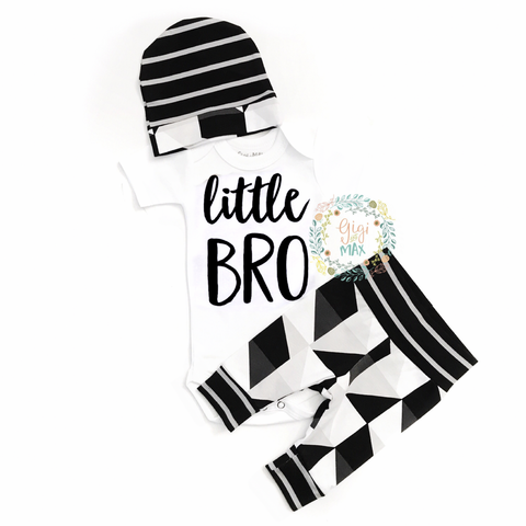 Little BRO newborn outfit black and gray triangle