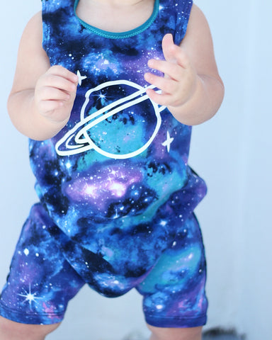 Galaxy Tank Top and Shorts Romper