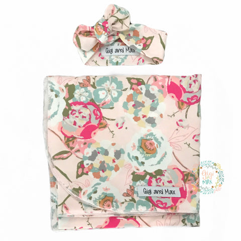 "Swaddle Light Pink Floral Blanket and Topknot - 34"" x 34"" - Gigi and Max"