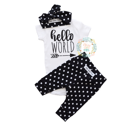 Hello World large Polka Dot Newborn Outfit