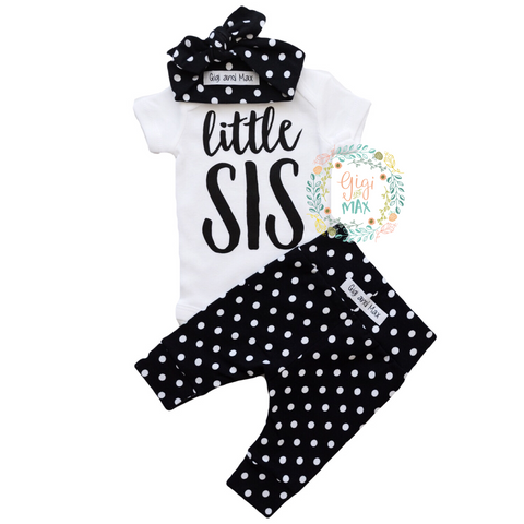 Little SIS newborn outfit large polka dots