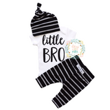 Little BRO newborn outfit black and gray stripe