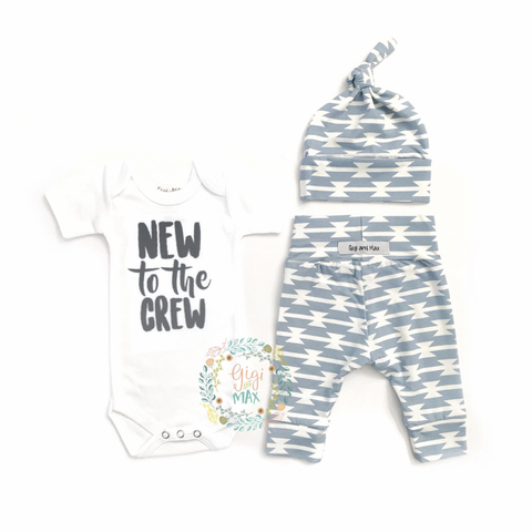 New to the Crew Blue Geo Newborn Outfit