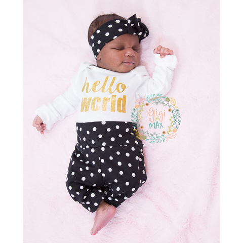 Gold Hello World large Polka Dot Newborn Outfit