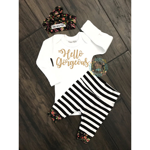 Hello Gorgeous Stripe and Floral Newborn Outfit