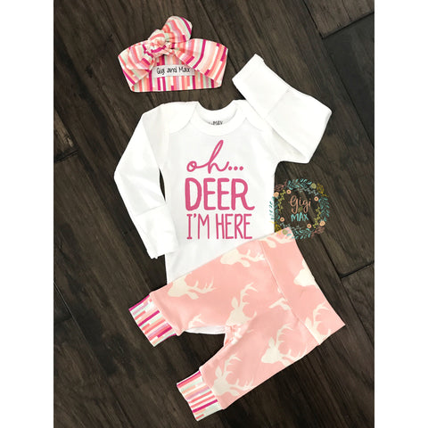 Buck Light Pink Oh Deer I'm Here with headband Newborn Outfit