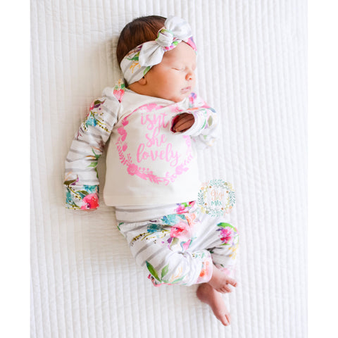 3 Piece Newborn Outfit Isn't she Lovely Watercolor Floral ** 3 weeks processing time **