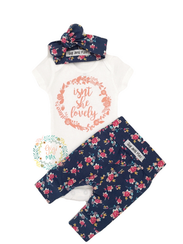 Isn't she Lovely Navy Floral Newborn Outfit