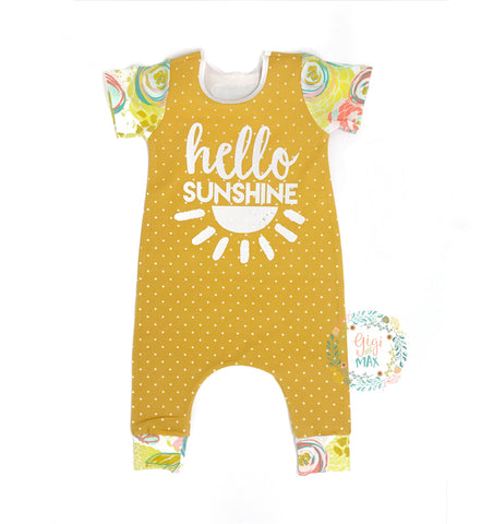 Mustard Polka Dot and Floral Hello Sunshine - Short Sleeve romper - Gigi and Max
