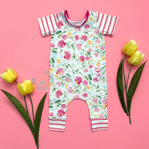 Tulip Floral - Short Sleeve romper - Gigi and Max