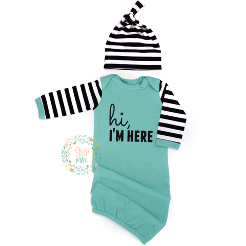 Hi, I'm Here Handmade gown - Teal with black stripes