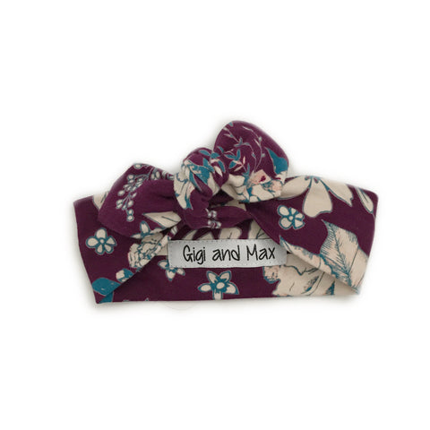 Purple Floral headband - Matches Purple floral Hoodie Set - Gigi and Max