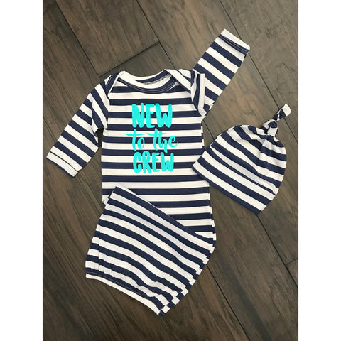 New to the Crew Handmade gown - Navy stripe and teal