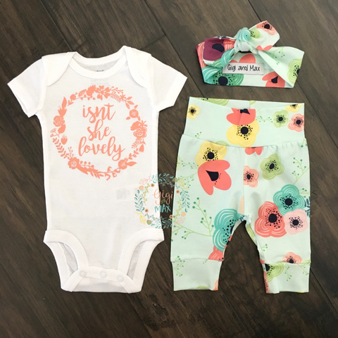 Isn't she Lovely Floral on Light Blue Newborn Outfit
