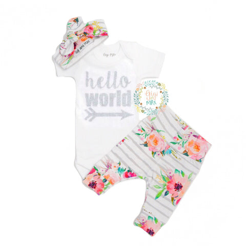 Watercolor Floral Hello World Newborn Outfit