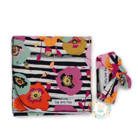 "Fall Floral Blanket Swaddle - 34"" x 34"" - Gigi and Max"