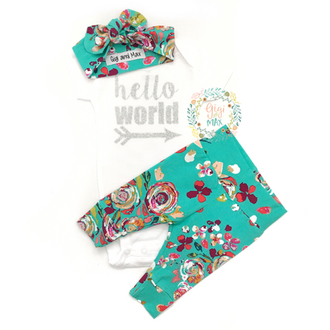 Teal Floral Hello World Newborn Outfit