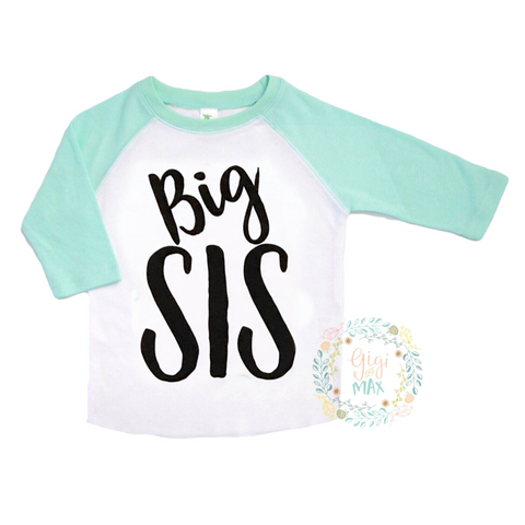 Mint Big SIS Raglan Shirt - Gigi and Max