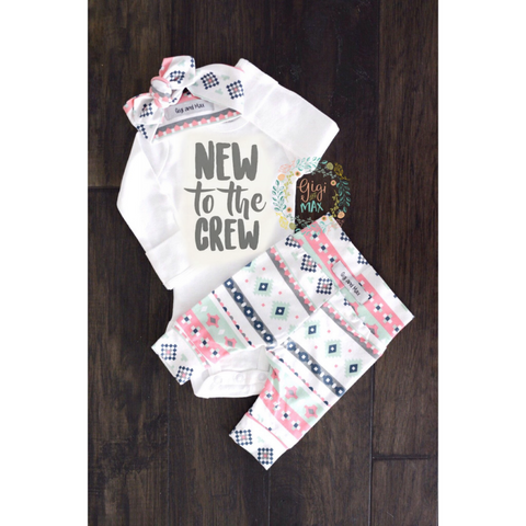 Pink Mint New to the Crew Charcoal Aztec Newborn Outfit