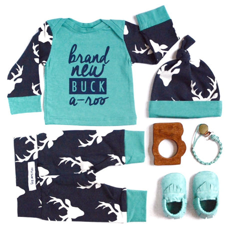 Brand New Buckaroo Newborn Outfit Navy and Teal - Gigi and Max