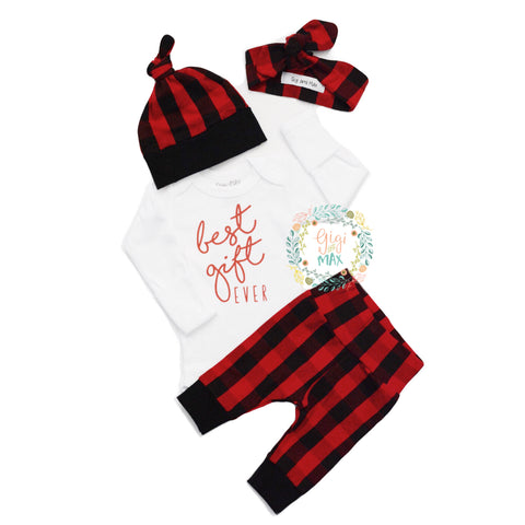 Best Gift Ever Gender Neutral Buffalo Plaid Newborn Outfit - Hat and/or headband option